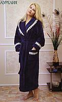 Женский халат на запах махра/велюр с кружевом АУРЕЛИЯ FLEUR Lingerie
