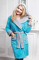 Женский халат с капюшоном и карманами на запах махра/велюр РИОНА FLEUR Lingerie