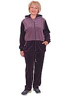 Женский велюровый спортивный костюм с капюшоном(размеры ХЛ-4ХЛ)