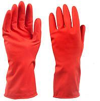 Перчатки резиновые бытовые (красные)