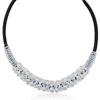 Ожерелье - нагрудник стильные прозрачные бусины на черном жгуте. Очень модно и очень женственно.