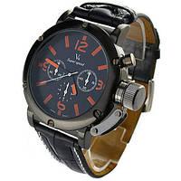 Мужские часы V6 черные с оранжевым
