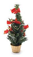 Новогодняя елка Красные бантики и звезды 30 см.