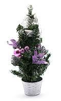 Новогодняя елка Сиреневые украшения 30 см.