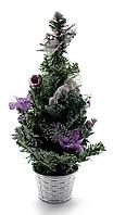 Елка декоративная новогодняя Сиреневые украшения 40 см.
