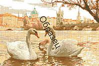"""Схема для вышивки нитками """"Лебеди в городе"""""""