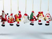 Подвеска-колокольчик Дед мороз новогодняя Набор 12 шт.