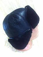 ушанка мужская из  натуральной кожи и черной овчины длинное ухо