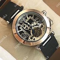 Стильные мужские наручные часы Cartier de cartier Gold/Black-white 509
