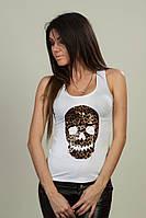 Женская майка с черепом,принт лео