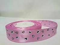 Лента атласная с рисунком 2,5см розовая с сердечками