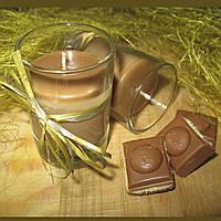 """Натуральная массажная свеча- с маслом какао ручной работы """"Шоколадный вечер"""""""