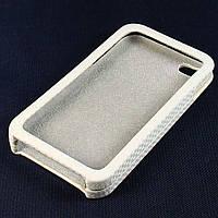 Чехол-накладка для Apple iPhone 4/4S, карбон, белый /case/кейс /айфон
