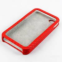 Чехол-накладка для Apple iPhone 4/4S, карбон, красный /case/кейс /айфон