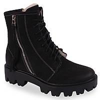 Женские зимние ботинки Kampa (теплые, овчина, польша, черные, нубук, на шнурках)