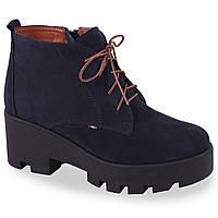 Женские зимние ботинки Kento (нубук, овчина, теплые, овчина, комфортные, на шнурках)