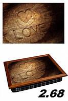 Поднос с подушкой деревянное сердце