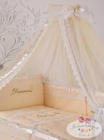 """Волшебный постельный набор в детскую кроватку для девочки """"Принцесса"""" (ткань сатин)"""