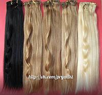 Натуральные волосы на заколках 50см