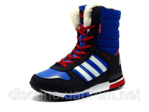 Кроссовки зимние, на меху, X-Time, высокие, синие