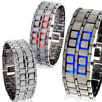 Наручные электронные часы Железный самурай на светодиодах в браслете из самурайской стали