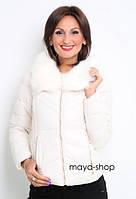 Женская теплая зимняя короткая куртка с мехом (расцветки)