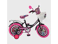 Велосипед детский12д. Profi Monster Gel 1257,корзина,фигурные педали, розовая резина