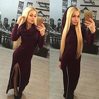Женское стильное длинное платье с капюшоном + большие размеры