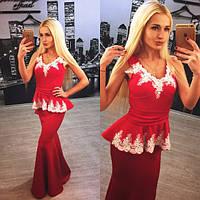 """Женское шикарное платье в пол """"Рыбка + большие размеры (2 цвета)"""