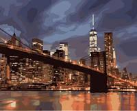 "Картина по номерам ""Ночной Нью Йорк"" 40х50 см.  КНО2133. Идейка. Без коробки."