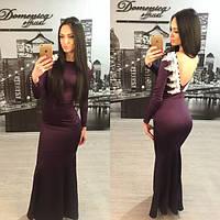 Женское красивое платье в пол с кружевом на спине + большие размеры (расцветки)