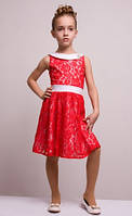 Элегантное красное платье с бантом