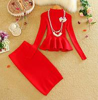 Женский трикотажное платье юбка + кофта с баской черное только