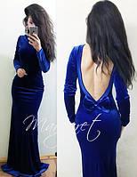 Шикарное бархатное платье в пол, на спинке бант