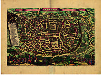 Старинная карта Иерусалима 150см х