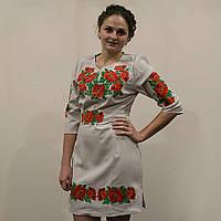 """Женское  платье с вышивкой """"Маки"""" серый лен"""