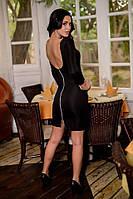 """Черное женское платье с открытой спиной """"Обольстительница"""""""