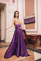 Сиреневое длинное вечернее платье из атласа
