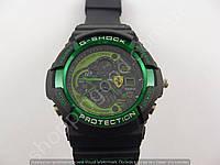 Мужские часы Casio G-Shock Scuderia Ferrari 013526 черные с зеленым водонепроницаемые противоударные