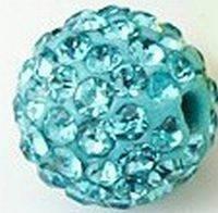 Бусина Шамбала с кристаллами 10мм. Aqua (№202)