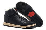 Кроссовки мужские Nike Dunk High (найк данк, оригинал) на меху черные