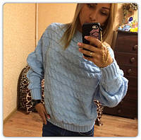 """Голубой шерстяной женский свитер """"Вязка"""""""