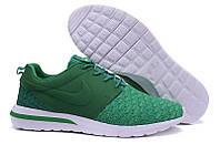Кроссовки мужские беговые Nike Roshe Run Flyknit (найк роше ран, оригинал) зеленые
