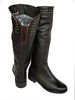 Высокие зимние сапоги натуральная кожа на небольшом каблуке