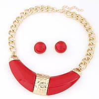 Шикарный праздничный комплект украшений в красно-золотых цветах. Красивый неординарный нагрудник