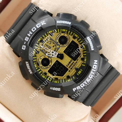 Модные спортивные наручные часы Casio GA-100 Black/Yellow 607