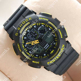 Часы наручные Casio GA-100 Black-yellow/Black 613 для занятий спортом