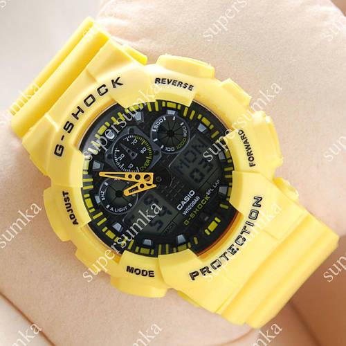 Яркие спортивные наручные часы Casio GA-100 Yellow/Black 616