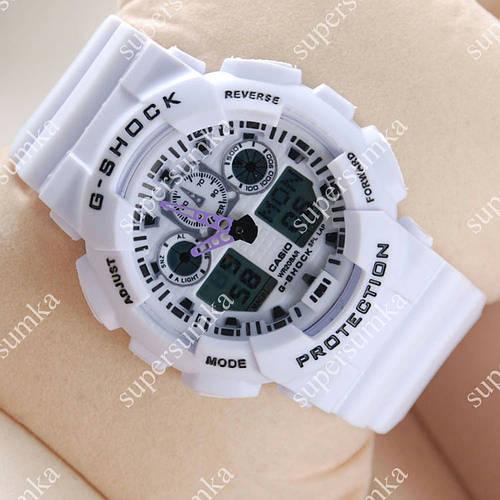 Элегантные спортивные наручные часы Casio GA-100 White-purple/White 617