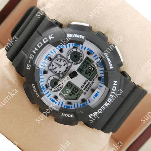Модные спортивные наручные часы Casio GA-100 Black/Gray-blue 620